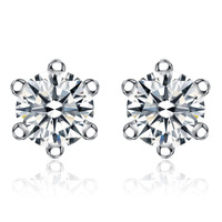 wholesale 100% pure 925 sterling silver platinum  crystal stud earrings fine jewelry GE025