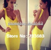2014 women yellow/red/black backless bandage dress