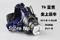 Free shipping 2013 Hot 1600Lm CREE XM-L XML T6 LED Headlamp Rechargeable Headlight FOR
