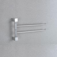 33cm Square Aluminum double towel bar flexible 180 degree rotating towel rail for bathroom with hooks bathroom accessori