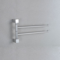 Square Aluminum double towel bar flexible 180 degree rotating towel rail for bathroom with hooks 33cm long chrome finish