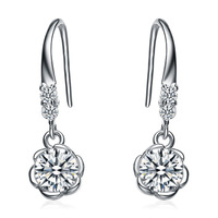 wholesale 100% pure 925 sterling silver platinum  flower crystal drop earrings fine jewelry GE024