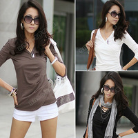 New 2014 Autumn Korean Style Women's Clothing Long Sleeve V Neck Wrinkle Slim Ladies Tops T-Shirt Blouse Black White Size S 0072