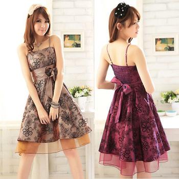 2015   women's elegant flock printing flower spaghetti strap one-piece dress bridesmaid dress free  size wedding dress
