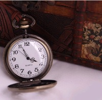 free shipping Rabbit key flower cutout vintage Large pocket watch necklace pocket watch