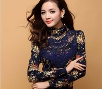 2012 autumn and winter women women's lace turtleneck slim long-sleeve blouse basic shirt plus velvet
