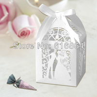 """Hot Sell 120pcs 2""""*2""""*3"""" Laser Cut Bride Groom Wedding Favor box in Pearlescent Paper White With White Ribbon"""