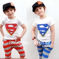 2013 new high quality baby superman sets kids Cartoon clothing set wears t-shirt+short stripes pants 5set/lot
