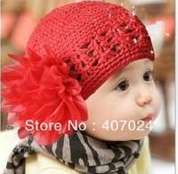 Hot sale Two Flowers Crochet baby cap hat infant children girl's caps hats 3colors in stock  780051J