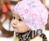 Hot sale Lace Flower cotton baby cap hat infant children girl's caps hats 2colors in stock  780050J