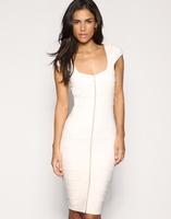 Aliexpress stylish ladies' party dress fashion OL outfit stripe patchwork front zipper big square collar slim white dresses