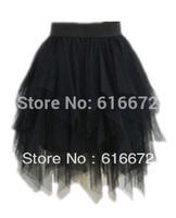 Free shipping, Europe America Street Wind irregular lace veil tutu skirt high waist skirt