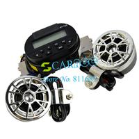 12V AUDIO SOUND SYSTEM AUX INPUT Motorcycle/ATV FM Radio MP3 STEREO SPEAKER Set Waterproof  6632