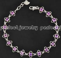 Chain bracelet Natural amethyst bracelets 925 sterling silver Purple gems Wholesales Fine jewelry Flower style