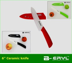 "BERYL ceramic kitchen knives 6"" chef the ceramic knife Scabbard + retail box,3 colors ABS Straight handle White blade 1PCS/lot(China (Mainland))"