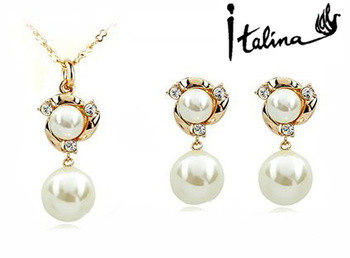 Italina Red Apple 18K Real Gold plated Jewelry Set Made With Swarovski Crystal High Quality #YB04S