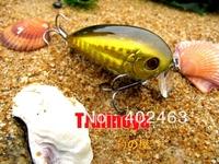 Free shipping Trulinoya DW04/B Golden Floating 2 hooks,50mm/8G plastic CRANKBAIT fishing hard bait lures,Wobbler fishing hook