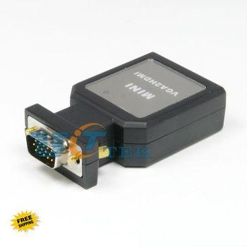 Mini VGA Male 15pin to HDMI Converter Adapter w/ USB VGA 3.5mm Audio Cable Free Shipping