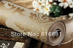 Free shipping wall paper,,hot selling wall paper ,(width) 0.53 m * (length) 10 m mural non-woven wallpaper gold(China (Mainland))