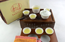 Portable travel jade porcelain tea set travel car Kung Fu Tea, Chinese kungfu tea set, wood tray free shipping 0065