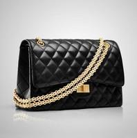 Free shipping 2014 Genuine leather woman Scrub plaid chain shoulder messenger bag women's handbag small fashion packbag