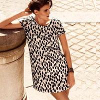 Free Shipping Sploshes print fabric white bottom loose thickening short-sleeve dress
