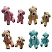 Free shipping 50pcs/lot 4.5cm Joint Bear  Joint Bear Doll Cell Phone Pendant Cartoon Plush Stuffed Toy Doll,4 colors