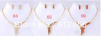 Rhinestone Jewelry Set Fashion Red Necklace Earring Set, High Quality Promotion Fashion Wedding Jewelry Set