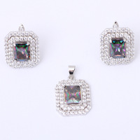 Wholesale prices Rectangle Set silver 925 stamp Inlay Rainbow Topaz & Zirconia Jewelry Pendants Earrings Set MS021