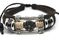 Wholesale 20 pcs/Lot Fashion Unisex Surfer Ethnic Tribal Brown Leather Hemp Bracelet Wristband G112