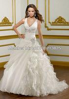 Glamorous Brides 2013 Hot Sales V-neck Appliques Ball Gown Fancy Wedding Dresses