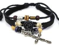Wholesale 20 pcs/Lot Unisex Cross Pendant Tribal Black Leather Bracelet Surfer Hemp Wrist Cuff A330