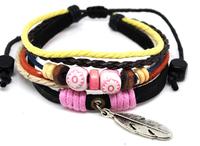 Wholesale 20 pcs/Lot Feather Pendant Colorful Hemp Wrist Cuff Surfer MultiWrap Leather Bracelet A313
