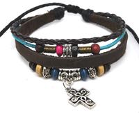 Wholesale 20 pcs/Lot Hollow Cross Pendant Ethnic Tribal Surfer Hemp Leather Bracelet Wristband A40