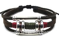 Wholesale 20 pcs/Lot New Stunning Mens/Womens Hemp Surfer Punk Brown Leather Bracelet Wrist Cuff L71