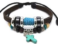 Wholesale 20 pcs/Lot Turquoise Cross Pendant Tribal Leather Hemp Bracelet Wrist Band Mens Womens A338