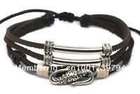 Wholesale 20 pcs/Lot Cool Men's/Women's Fashion Punk Brown Hemp Leather Bracelet Surfer Wristband L23