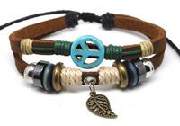 Wholesale 20 pcs/Lot Turquoise Peace Sign Tribal Surfer Hemp Leather Bracelet Wrist Band Cuff G88