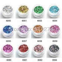 Manicure set 24 color gradient glitter laser sequins Nail Art Glitter Powder 1 mm hexagonal  Series sequins