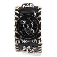 Elegant Punk Rock Skull Leather Band Knit Women Men  Quartz Unisex Bracelet Cuff Wrist Watch
