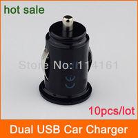 2-Port Dual USB Car Charger adaptor for iPhone 4s iPod ipad galaxy all phone 5V 2.1A-10pcs