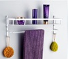 Free shipping aluminum Bathroom basket single tier bath shower caddy hanging shelf for storage with hook bathroom accessories