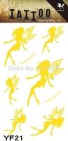 2014 Hot Design High Quality Temporary  Water Transfer Gold Body Tattoo Sticker Tatoo