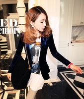 Min.order $15(mix order)hot sale,2013 new autumn women's fashion blue velvet Long sleeve suit lady coat s827 Free shipping