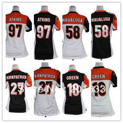 Women Jerseys , Discount #14 Andy Dalton Orange white black American football jersey, Stripped logos wholesale,free shipping fee(China (Mainland))