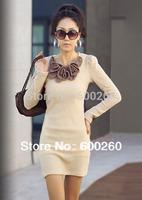 Holiday Sale New Fashion Mini Long Sleeve Butterfly Flower Woollen Sweater Short  Dress free shipping 5119