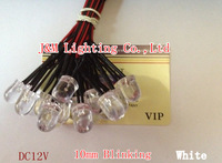 Free shipping DC12V 10mm White Color Blinking Pre wired LED 1.5HZ Flashing 100pcs/lot