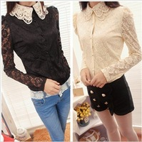 hot sale Blouses Autumn & winter women puff sleeve peter pan collar chiffon lace double layer cardigan shirts WYL8039
