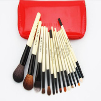 Free shipping !!BB15 pcs 100% Goat Hair make up tools kit Cosmetic Beauty Makeup Brush Sets with Leather Case