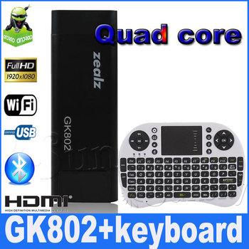 {Free remote I8 keyboard} Zealz GK802 Freescale Quad Core TV Stick Mini PC Cortex-A9 TV Box with built-in Bluetooth HDMI 1080P